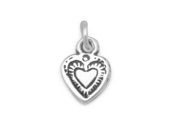 Oxidized Heart Charm