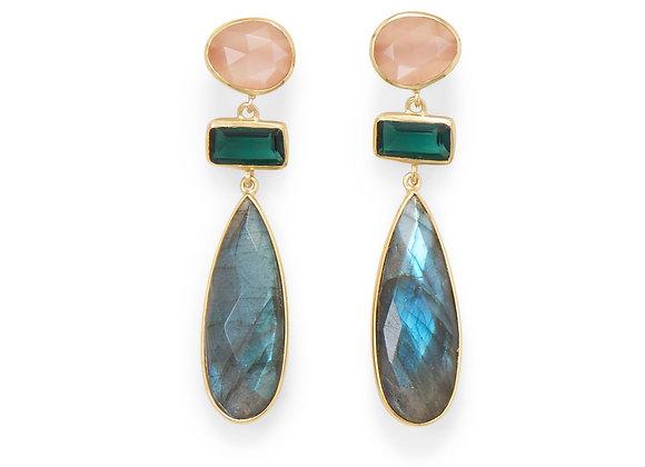 14 Karat Gold Plated Multi Stone Post Earrings