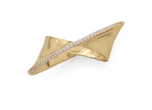 14 Karat Gold Plated Diagonal CZ Ribbon Ring