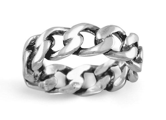 Oxidized Curb Chain Ring