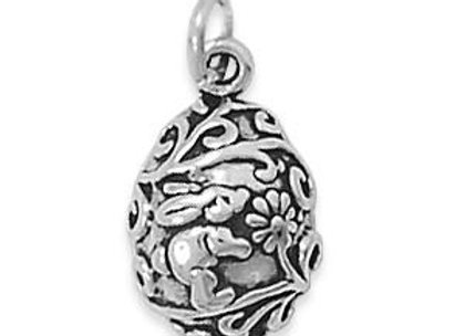 Egg with Bunny & Flowers Charm