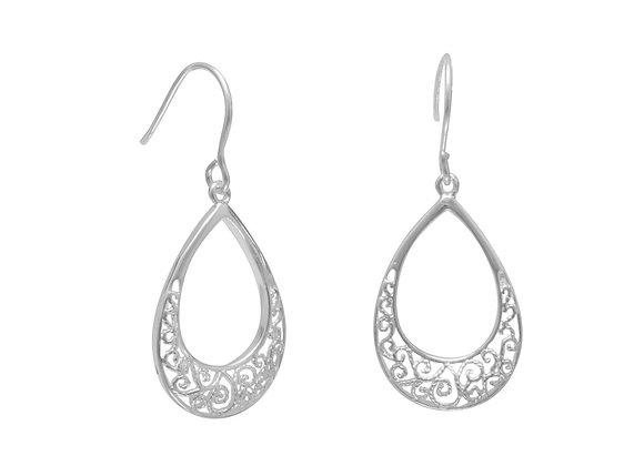 Tear Shape Filigree Design French Wire Earrings