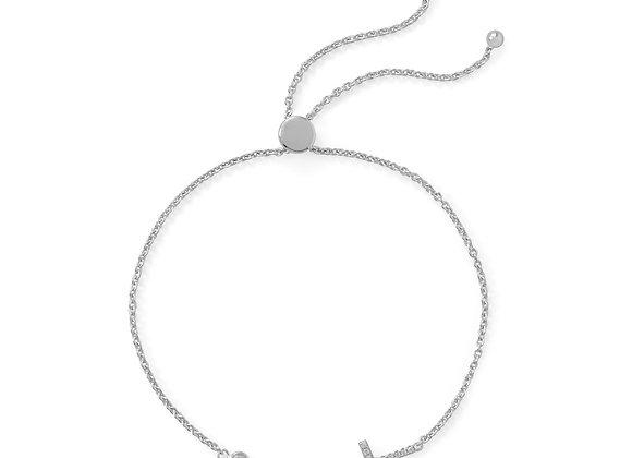Rhodium Plated CZ Cross Friendship Bolo Bracelet