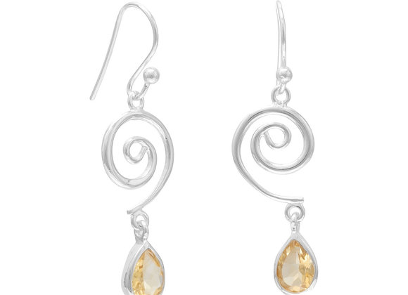 Swirl Design and Citrine Drop French Wire Earrrings