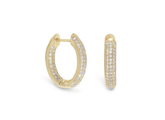 14 Karat Gold Plated CZ In/Out Hoop Earrings