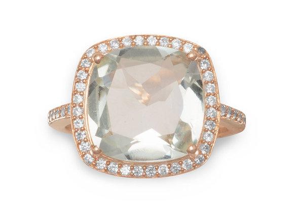 14K Rose Gold Plated Prasiolite Ring