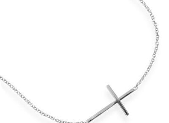 "7"" + 1"" Rhodium Plated Polished Sideways Cross Bracelet"