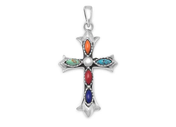 Marquise Multicolor Stone Cross Pendant