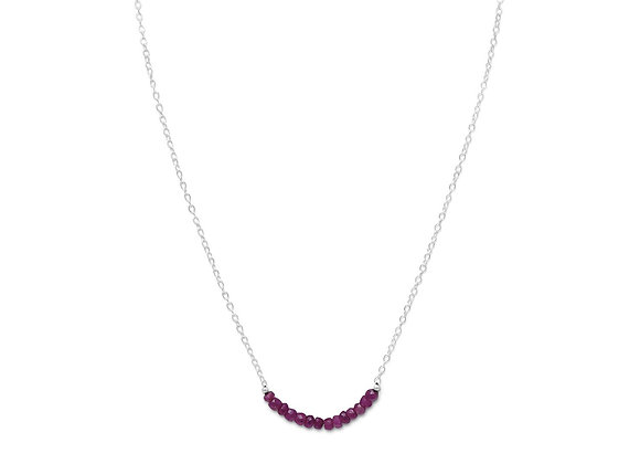 Faceted Corundum Bead Necklace - July Birthstone