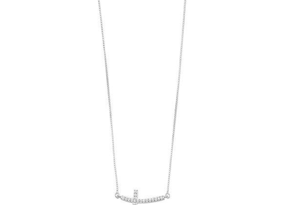 Rhodium Plated Sideways Cross Necklace with Diamonds