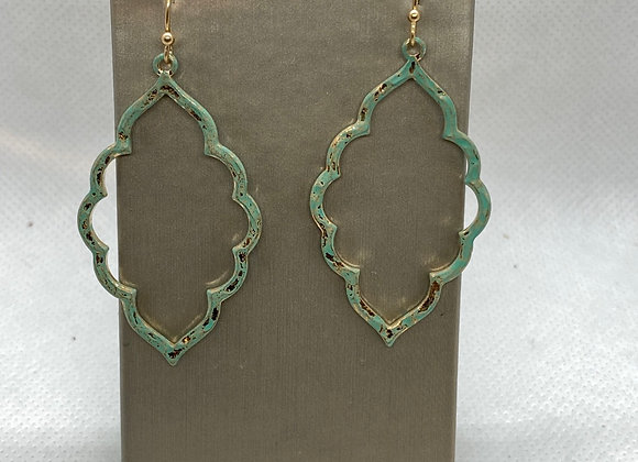 Teal and yellow gold plated earrings