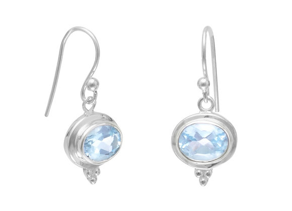 Oval Blue Topaz French Wire Earrings