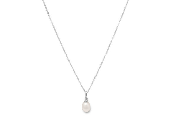 """18"""" Rhodium Plated Cultured Freshwater Pearl Drop Necklace"""