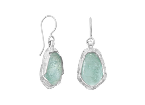 Polished Pear Ancient Roman Glass Drop Earrings