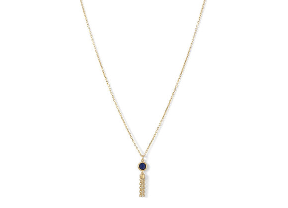 14 Karat Gold Plated Mini Lapis and Tassel Necklace