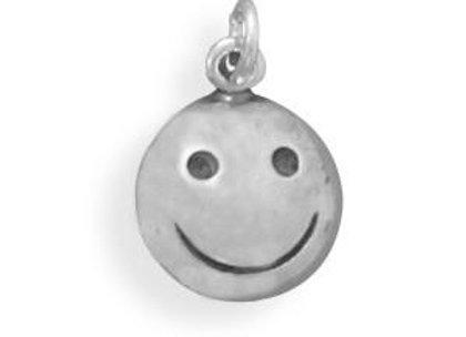 Oxidized Smiley Face Charm