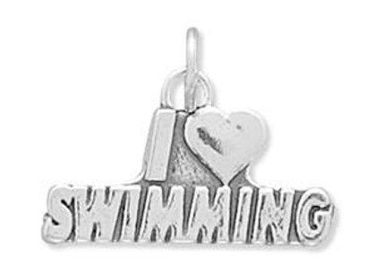 I Love Swimming Charm