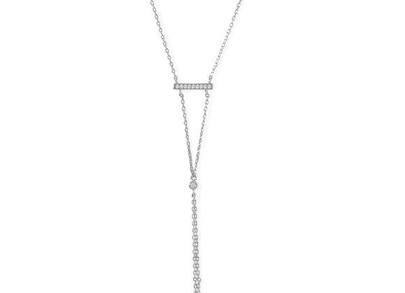 Rhodium Plated Bar Necklace with Y Drop