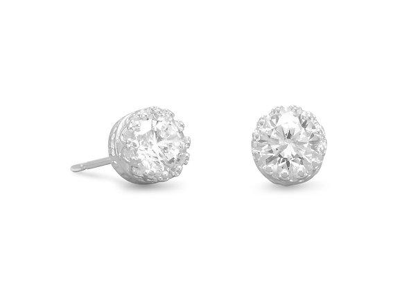 CZ Stud Earrings in Crown Setting
