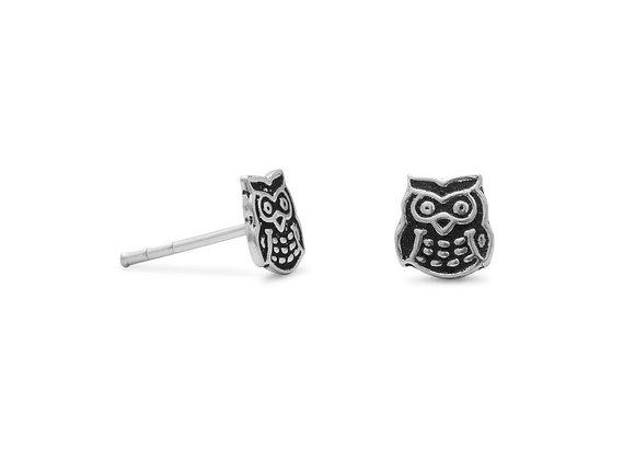Oxidized Owl Earrings