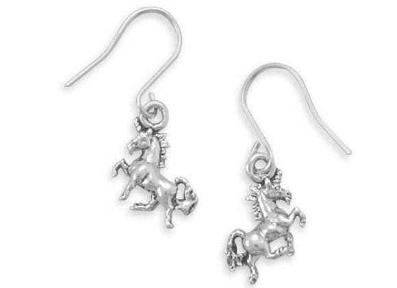 Pretty Prancing Unicorn French Wire Earrings