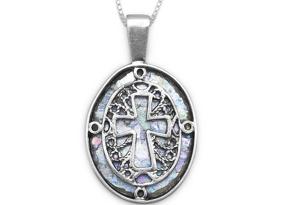"""18"""" Oval Ancient Roman Glass Cut Out Cross Necklace"""