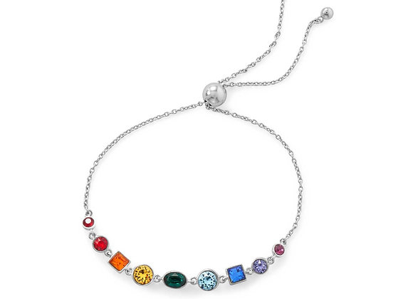 Rhodium Plated Crystal Rainbow Bolo Bracelet
