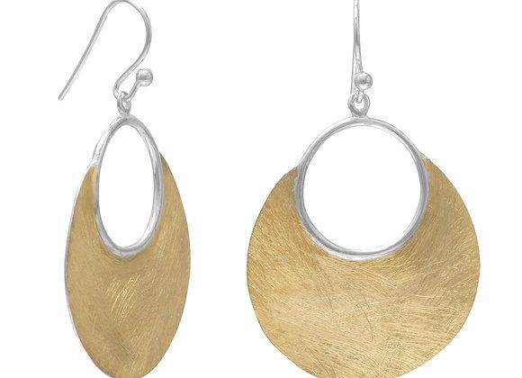 14 Karat Gold Plated Brushed Earrings