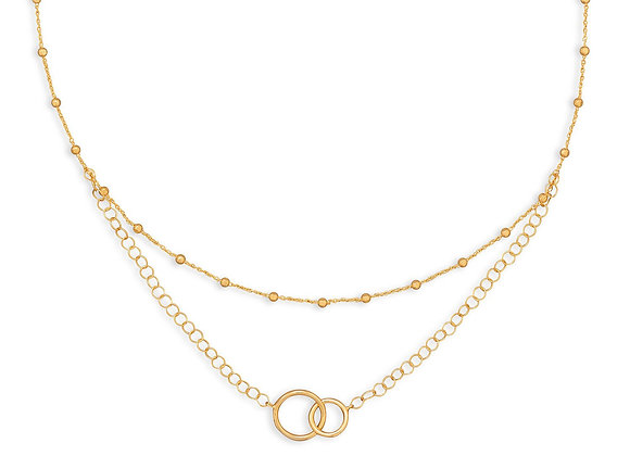 """16"""" 14 Karat Gold Plated Multistrand Beaded Necklace with Circle Link"""