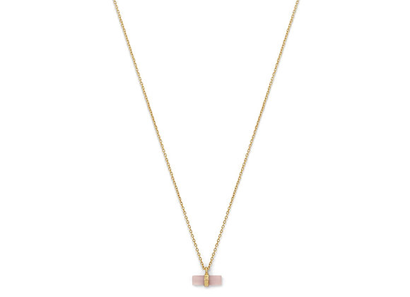 14 Karat Gold Plated Pencil Cut Rose Quartz Necklace