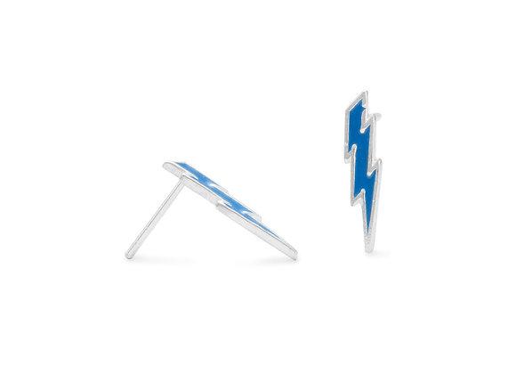 Blue Lightning Bolt Stud Earrings