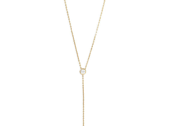 14 Karat Gold Plated Necklace with CZ and Imitation Pearl Drop