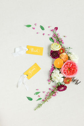 Flat Lay Bride Groom Place Cards