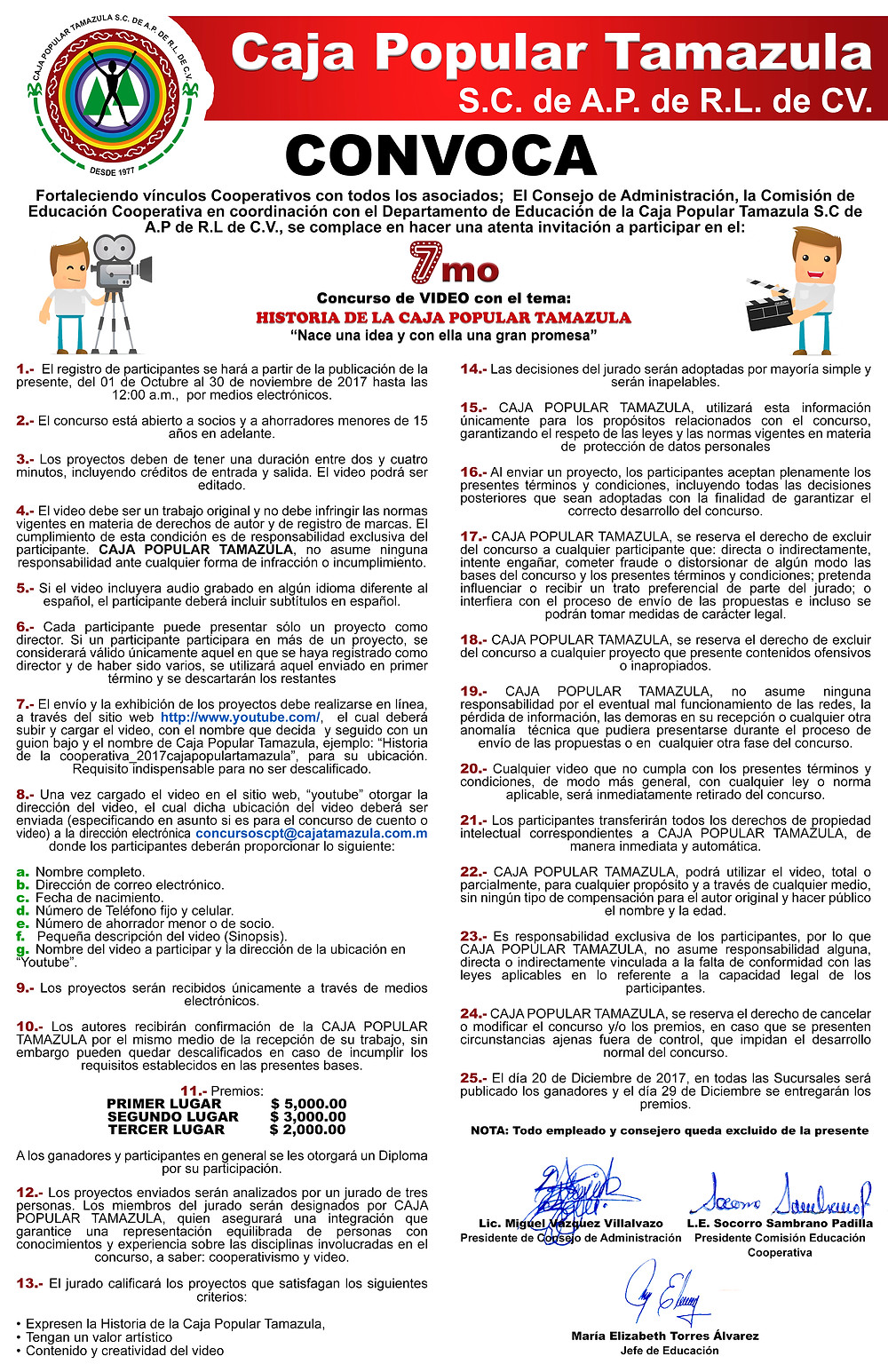 "Participa en la Convocatoria del 7mo Concurso de Video ""Historia de la Caja Popular Tamazula"""