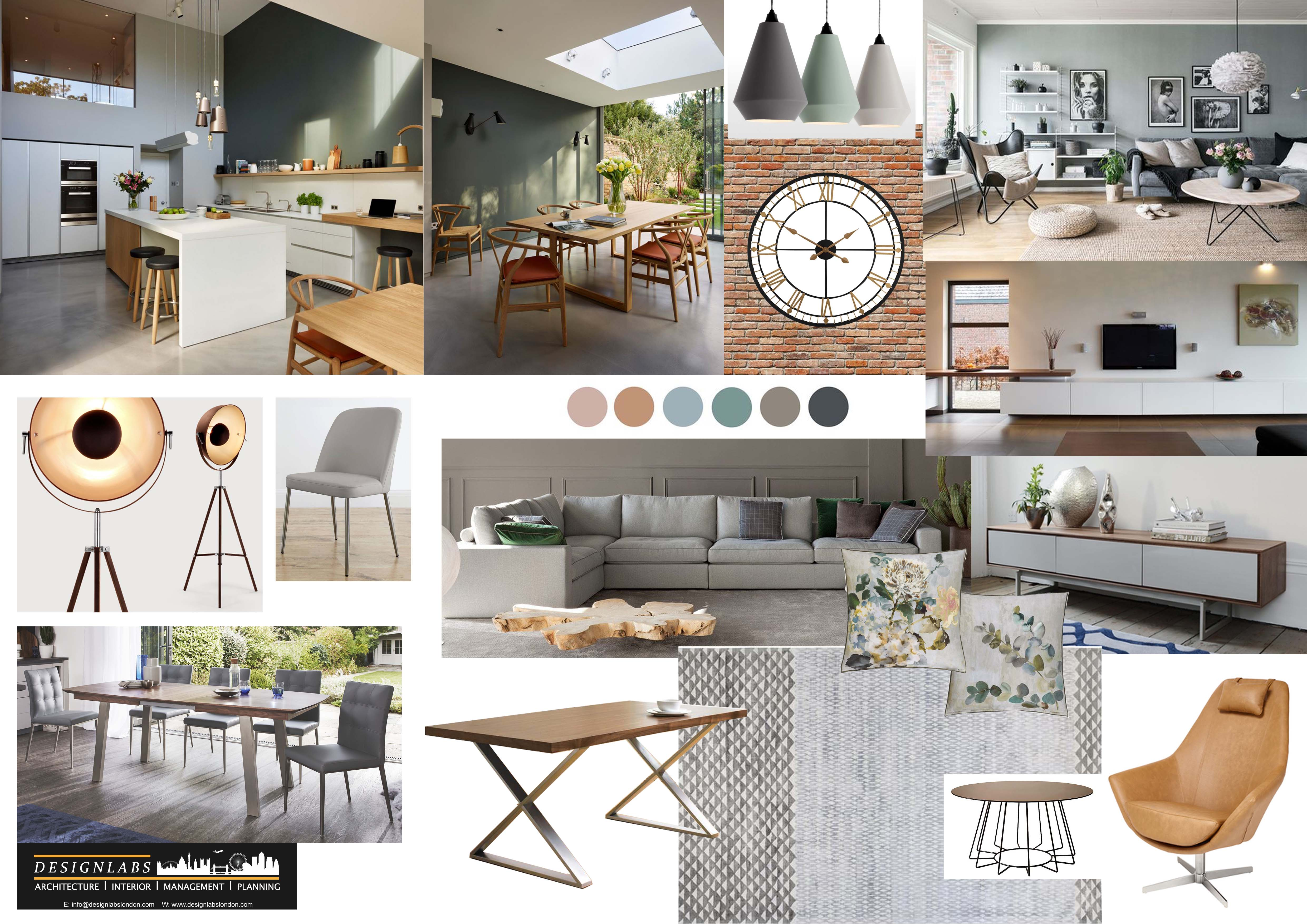 Concept Board for open plan living d