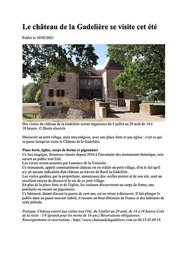 Le château de La Gadelière se visite cet