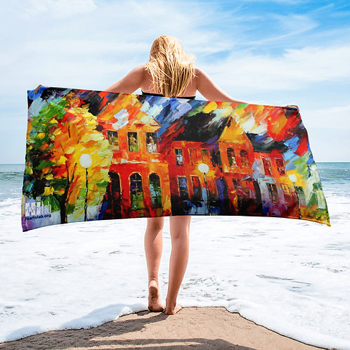 Painted Houses Beach Towel