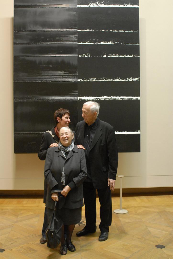 Sylvie Abélanet avec Colette et Pierre Soulages