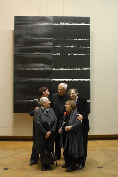 Sylvie Abélanet with Colette and Pierre Soulages, Pierre Encrevé and Pierrette Bloch