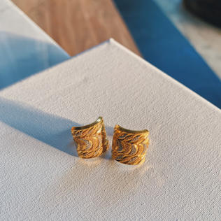 916 Gold Two Tone Rectangle Earrings (sold out)