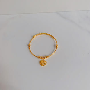 916 Gold Heart Charm Bangle ( Adjustable For Babies)