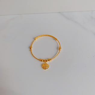 916 Gold Heart Charm Bangle (Adjustable For Babies)