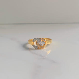 916 Gold Two Tone Double C Ring