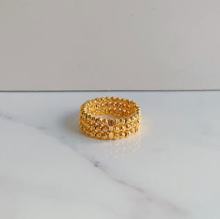 916 Gold Playful Beads Ring