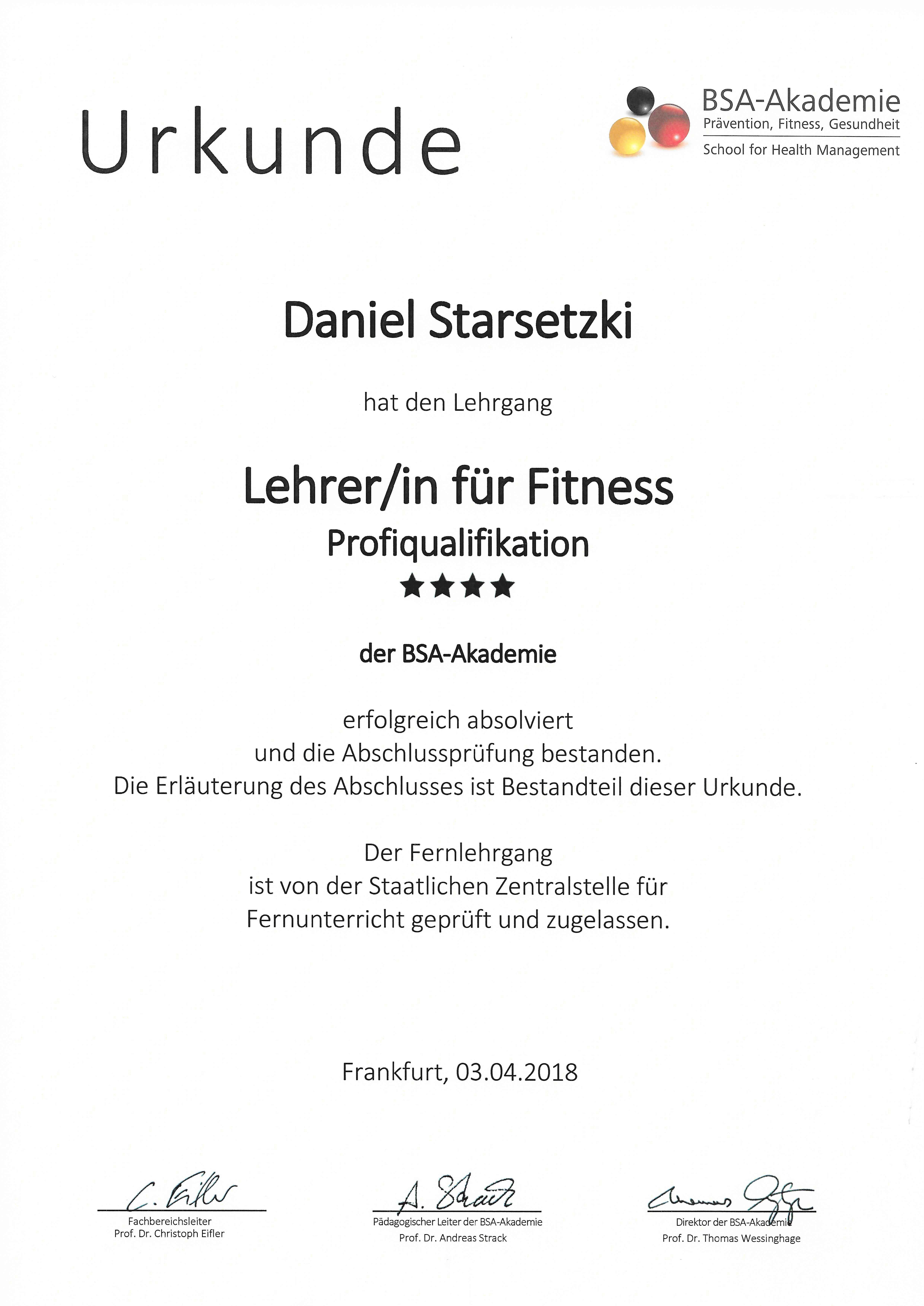 Lehrer/in für Fitness