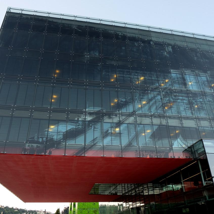 L'image des anciens quais de Saône est imprimée dans le verre de la façade