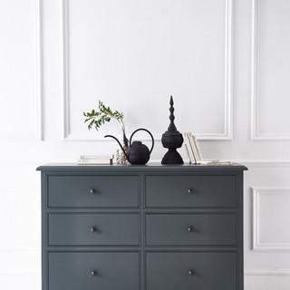 dark grey pine chest of drawers - QUADRA - furniture