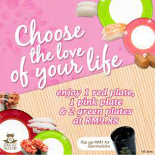 RM 9.88 2 green, 1 pink and 1 red plates