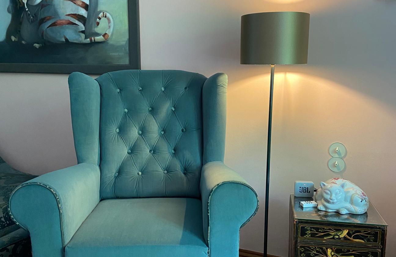 Sessel neu bezogen - perfekte neue kombination mit Rekamiere nebenan
