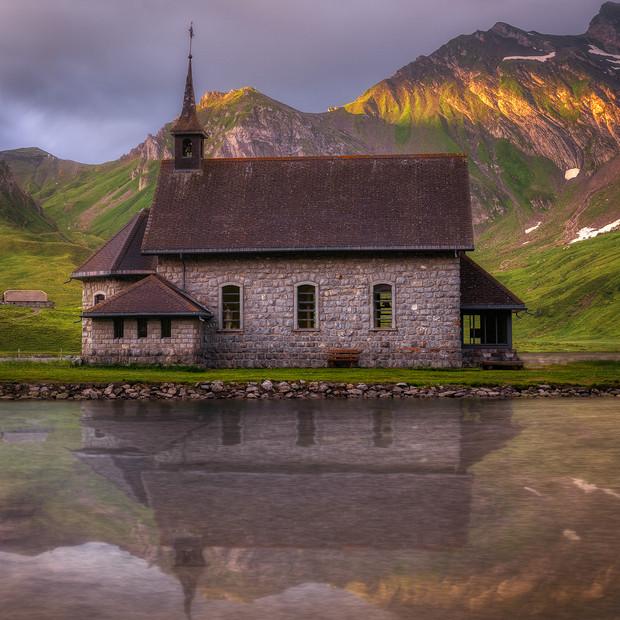 Church at the lake, Switzerland